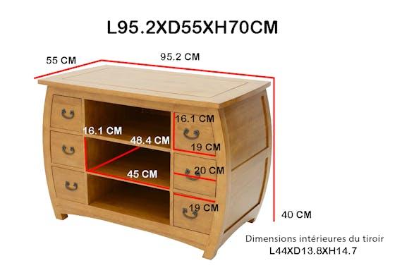 Meuble TV galbé Hévéa 6 tiroirs, 3 niches 95.2x55x70cm MAORI TRADITION