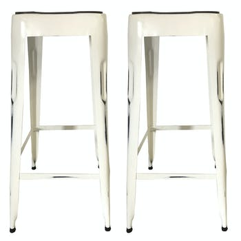 Tabouret de bar blanc (lot de 2) LEEDS