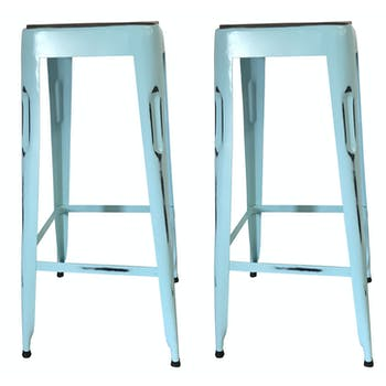 Tabouret de bar bleu (lot de 2) LEEDS