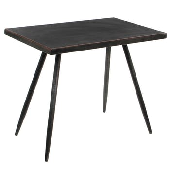 Table d'appoint rectangle métal veilli H 40 cm