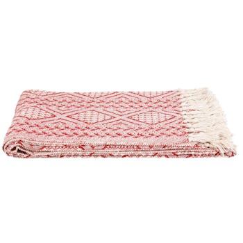 Plaid rouge à franges 170 x 130 cm