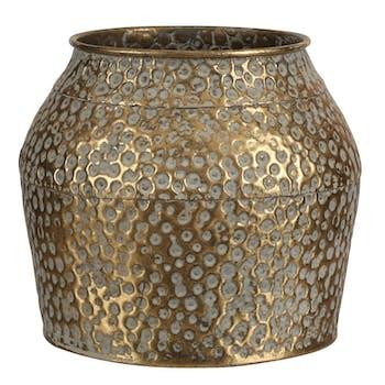 Vase métal doré vieilli H 16 cm