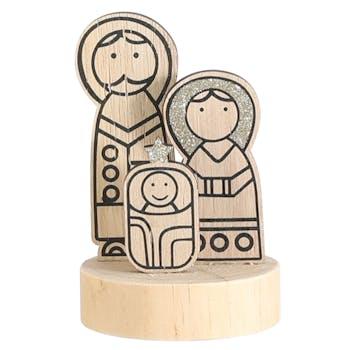 Famille Sainte déco sur socle bois H 11 cm