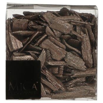 Eclats de bois pailletés cuivrés