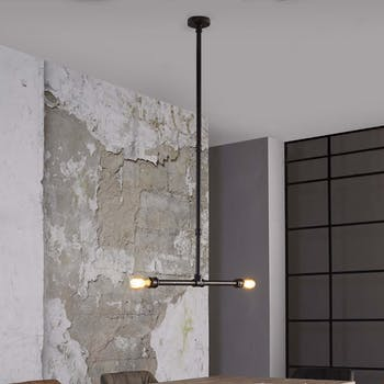 Suspension design 2 lampes tuyau TRIBECA