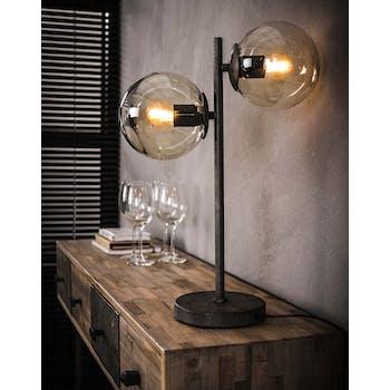 Lampe à poser vintage filaire 2 globes RALF
