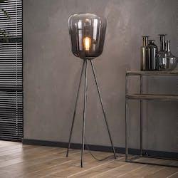 Lampadaire verre chromé et métal RALF