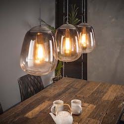 Suspension 3 lampes verre chromé PM RALF