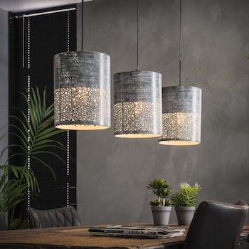 Suspension contemporaine 3 lampes ajourées effet béton MELBOURNE