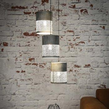 Suspension contemporaine grappe 3 lampes ajourées effet béton MELBOURNE