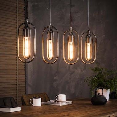 Suspension industrielle 4 lampes métal forme ovale RALF