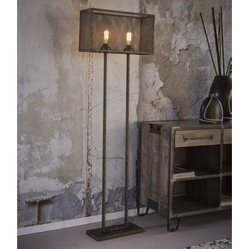Lampadaire industriel grillagé forme rectangle RALF