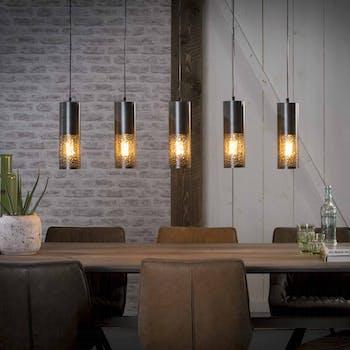Suspension contemporaine noire nickel ajourée 5 lampes