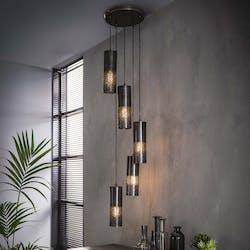 Suspension contemporaine noire nickel ajourée 5 lampes étagées
