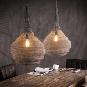 Suspension industrielle maille 2 lampes