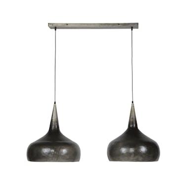 Suspension vintage 2 lampes forme bougie argent ancien RALF