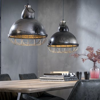 Suspension industrielle 2 lampes grillagées loft RALF