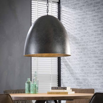 Suspension cloche grand format charbon RALF