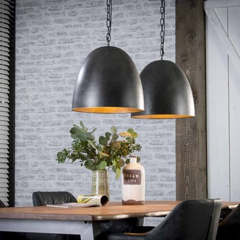 Suspension cloche 2 lampes charbon RALF