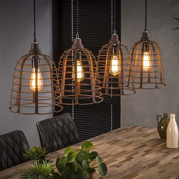 Suspension industrielle cloche 4 lampes grillage effet rouille TRIBECA