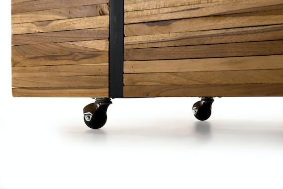 Table basse à roulettes teck recyclé cerclé OTTAWA