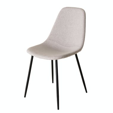Chaise tissu beige TIM (lot de 2)