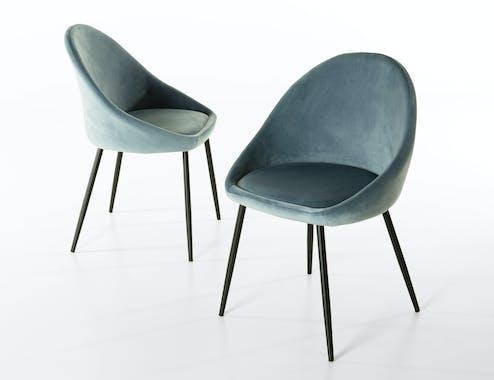 Chaise velours bleu TIM (lot de 2)