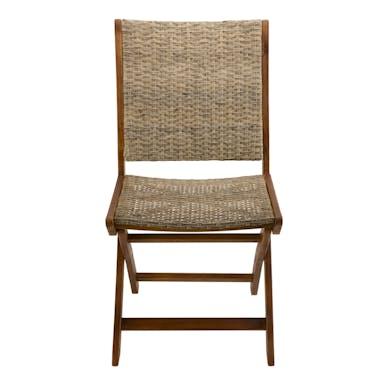 Chaise de jardin pliante bois d'acacia rotin synthétique SUMMER (lot de 2)
