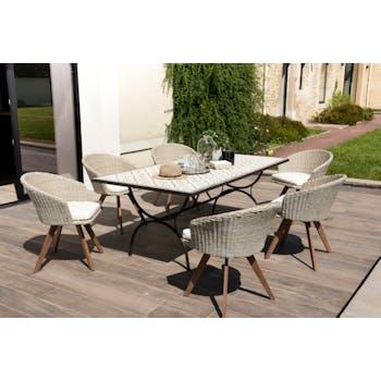 Salon de jardin SUMMER (1 table de jardin 200x100 carreaux de ciment, 6 fauteuils de jardin)