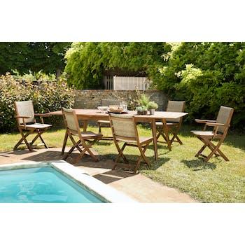 Salon de jardin SUMMER (1 table de jardin extensible 180x240, 4 chaises de jardin, 2 fauteuils de jardin pliants)