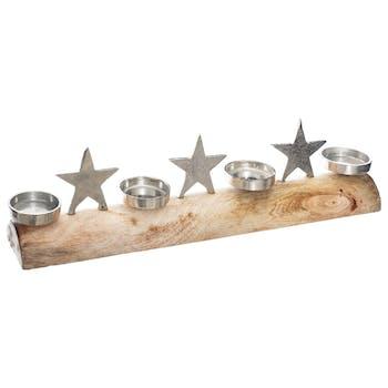 Centre de table tronc d'arbre  photophores et étoiles