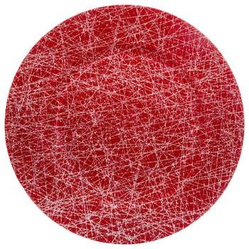 Assiette D33 cm rouge et lignes argentées