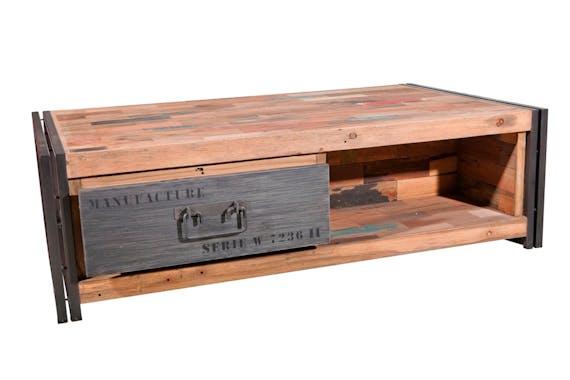 Table basse avec rangement bois recyclé métal CARAVELLE