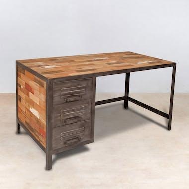 Bureau de chambre 3 tiroirs bois recyclé métal CARAVELLE