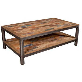 Table basse double plateau bois recyclé métal poli 120x70 CARAVELLE