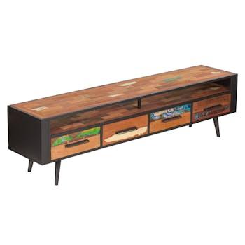 Banc TV 4 tiroirs 1 niche bois recyclé DRAKKAR
