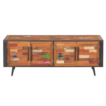 Buffet enfilade 4 portes bois recyclé DRAKKAR