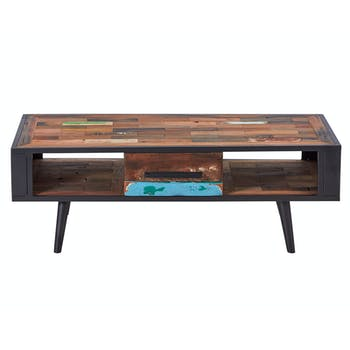 Table basse rectangulaire 1 tiroir 2 niches bois recyclé DRAKKAR