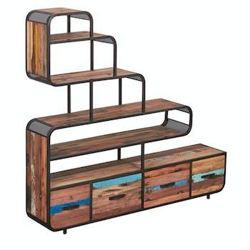 Etagère bibliothèque 4 tiroirs bois recyclé DRAKKAR