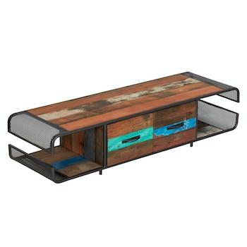 Meuble TV 2 tiroirs bois recyclé DRAKKAR