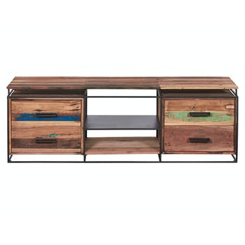 Meuble TV 4 tiroirs bois recyclé SAMPAN