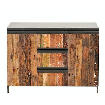 Buffet salle à manger 2 portes 3 tiroirs métal bois recyclé ATELIER
