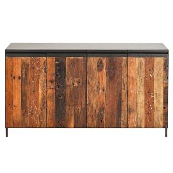 Buffet salle à manger 4 portes métal bois recyclé ATELIER