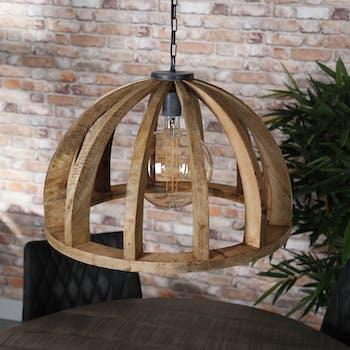 Suspension en bois ronde ajourée LUCKNOW