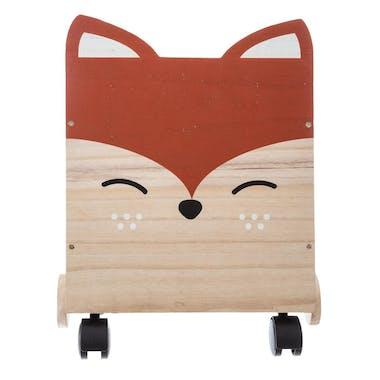 Coffre en bois tête de renard à roulettes
