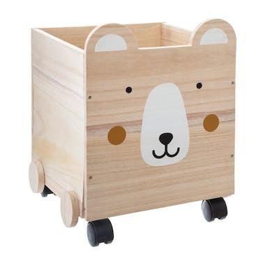 Coffre en bois tête d'ourson  à roulettes