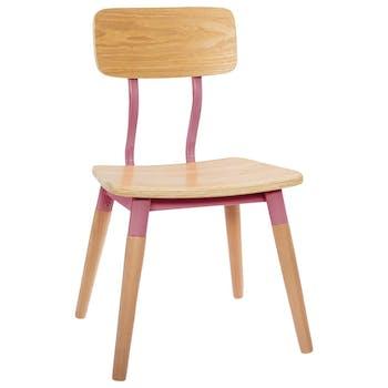 Chaise enfant rétro bois naturel et rose