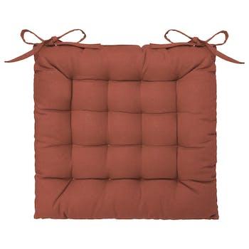 Galette de chaise capitonnée couleur terracotta 38x38 cm