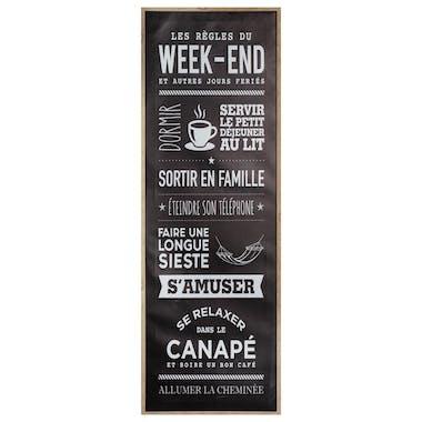 """Toile imprimée """"les règles du week-end"""" 90 cm"""