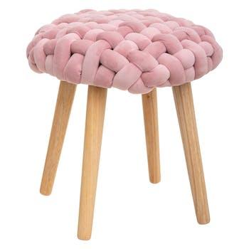 Tabouret rond avec assise en tricot couleur vieux rose